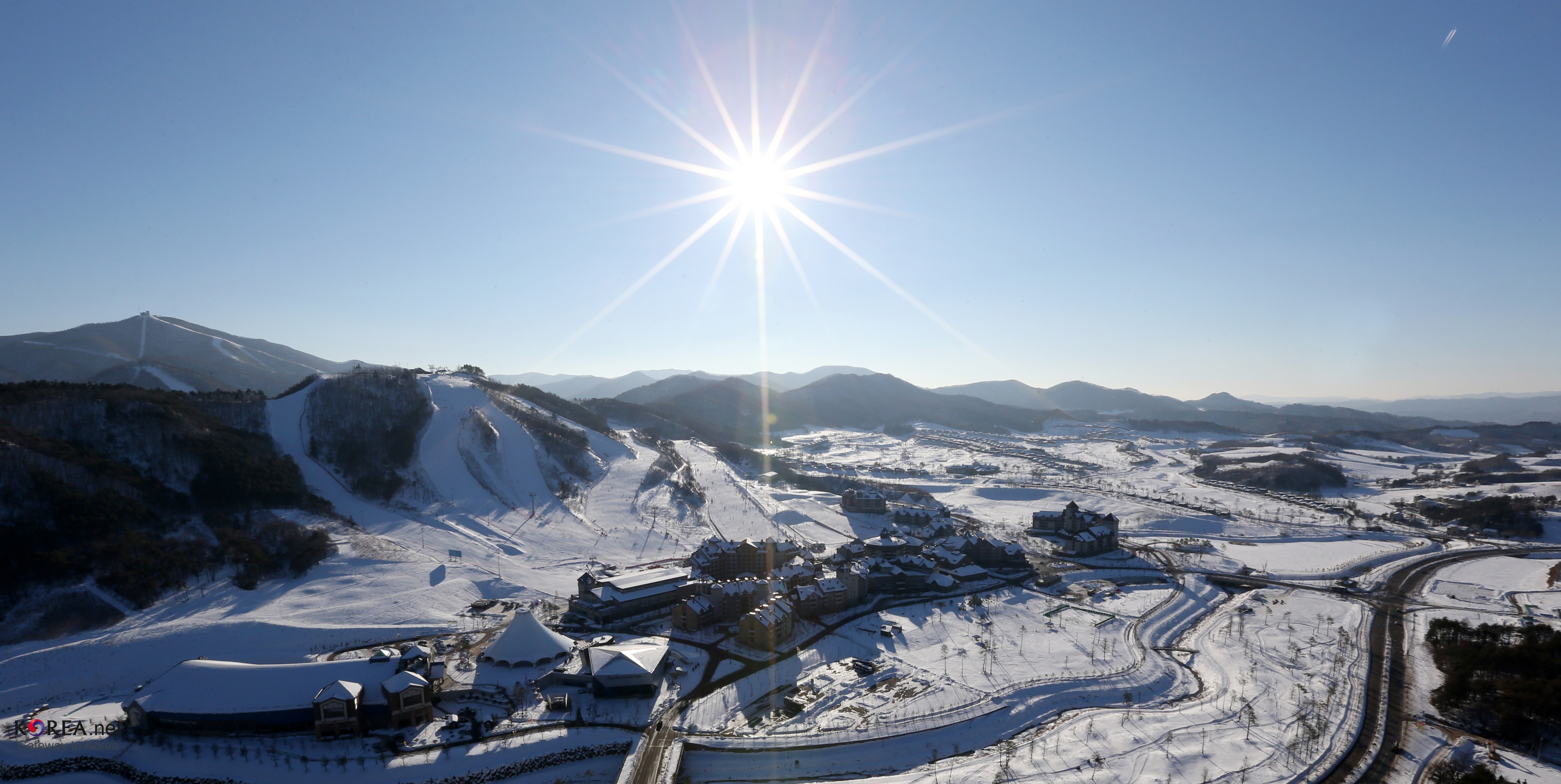 View of the sunny PyeongChang county mountain ranges