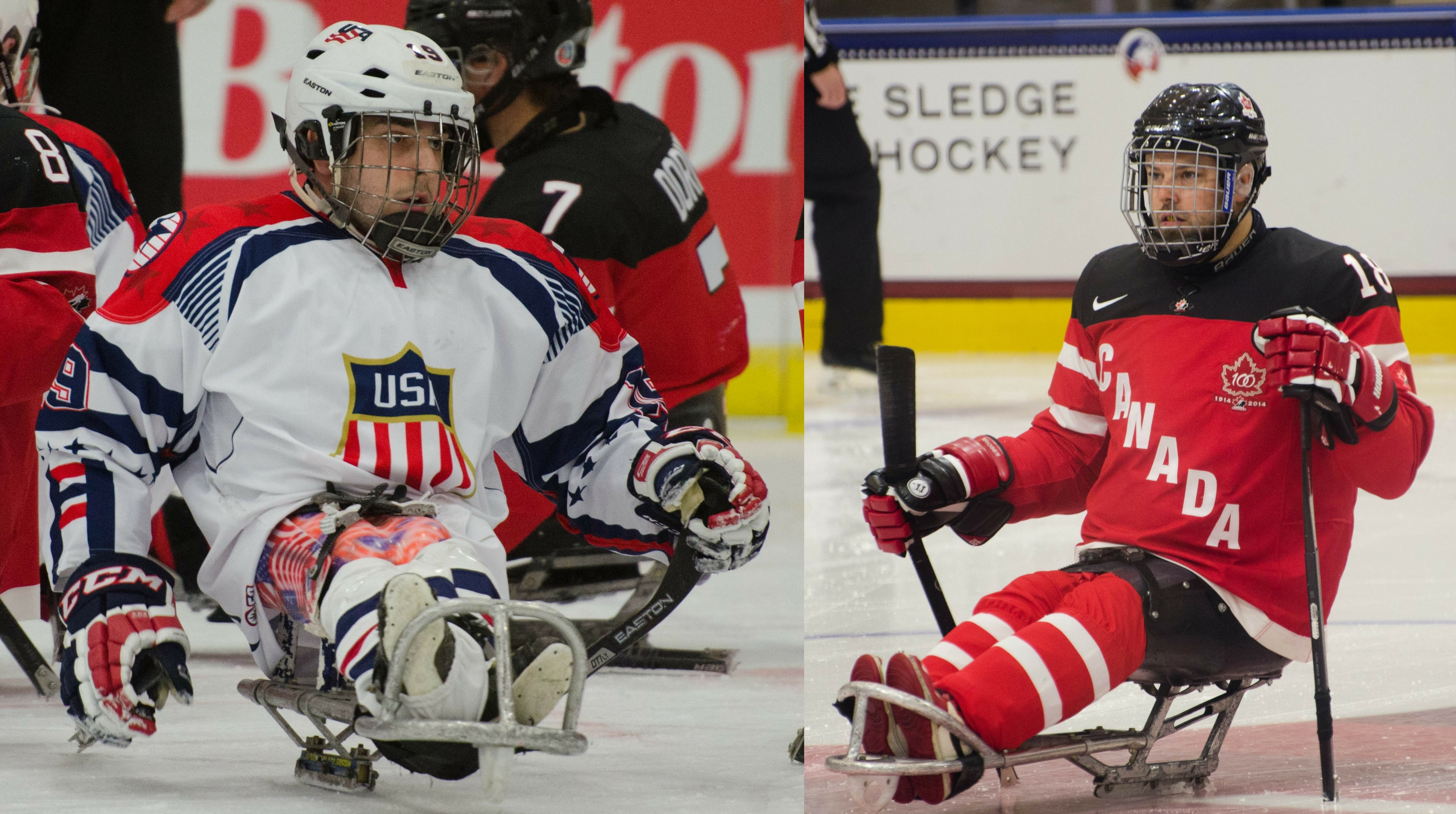 Para ice hockey players Kevin McKee of team USA and Billy Bridges of team Canada