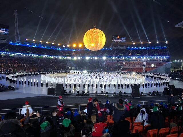 PyeongChang Olympic stadium at the 2018 Winter Paralympics opening ceremony