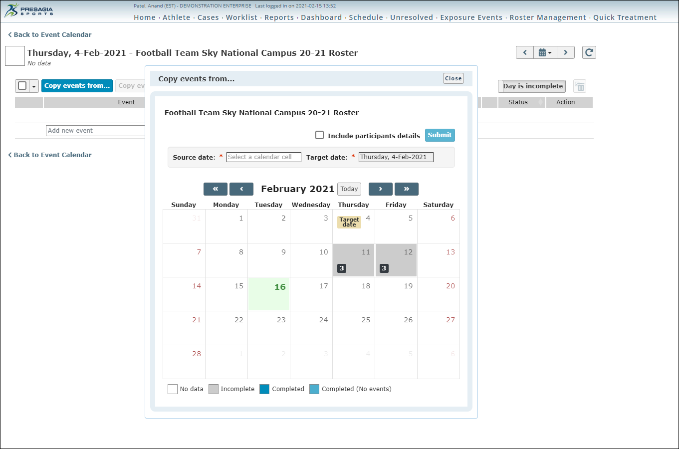 Screenshot of events roster within the Exposure and Participation feature of Presagia Sports