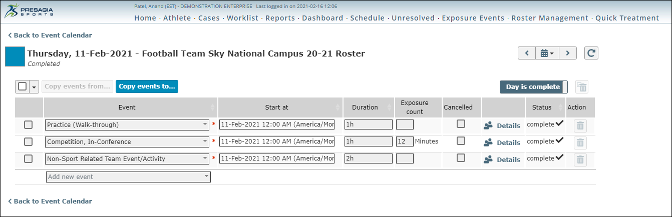 Screenshot of event details within the exposure and participation feature within Presagia Sports