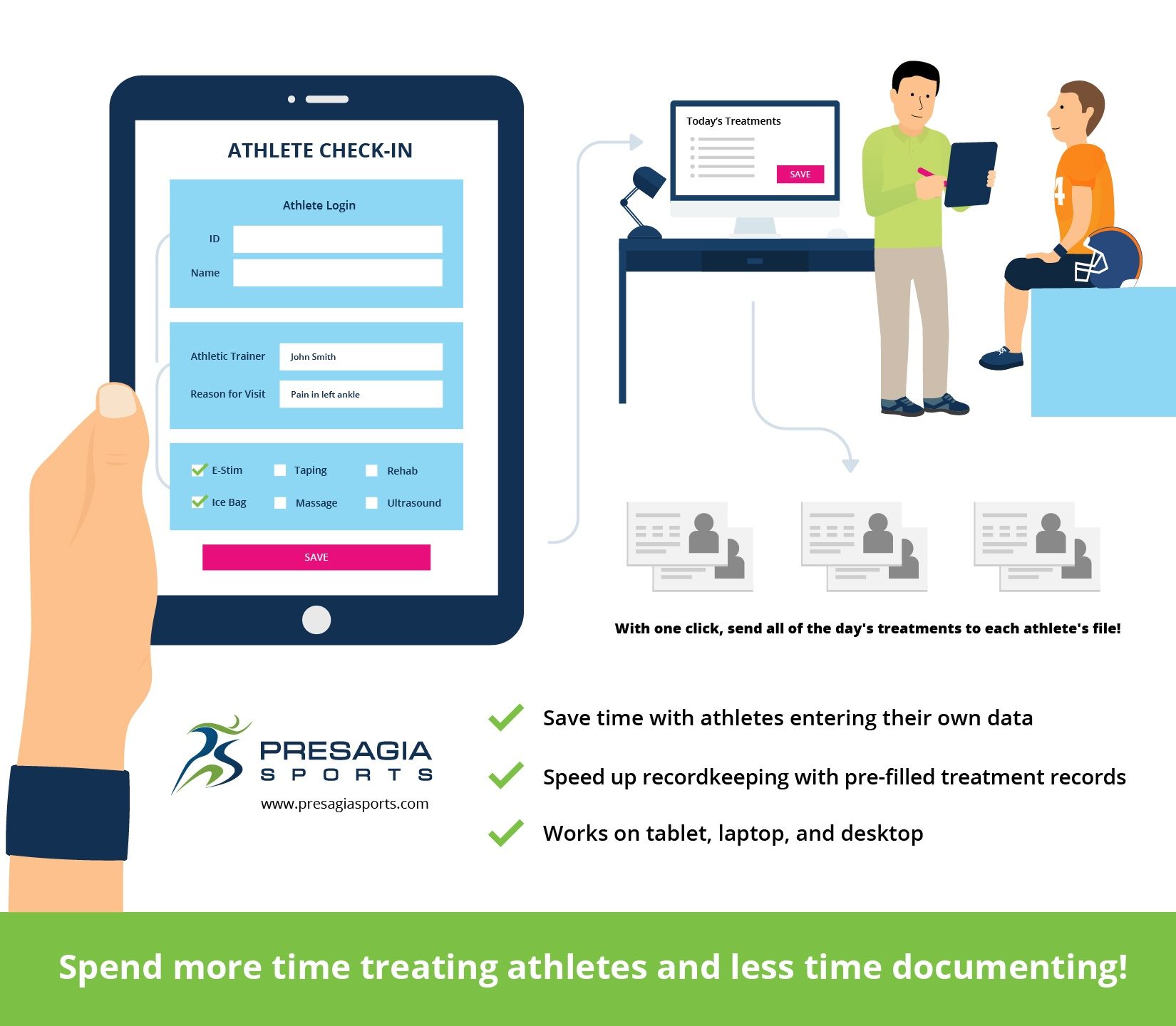 An infographiuc displaying how athletes can check-in for their treatment using Presagia Sports' Athlete Kiosk